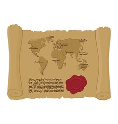 Map world of ancient scroll with seal of king old vector