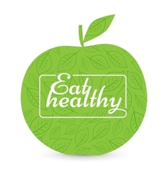 Eat a healthy diet green apple vector