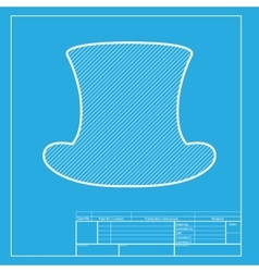 Top hat sign white section of icon on blueprint vector