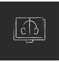 Audiobook icon drawn in chalk vector