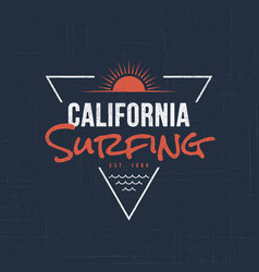 California sufing t-shirt and apparel design vector
