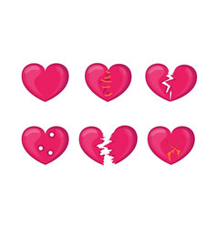 cartoon broken hearts icons set vector image vector image