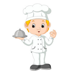 cartoon funny chef holding a silver platter vector image vector image