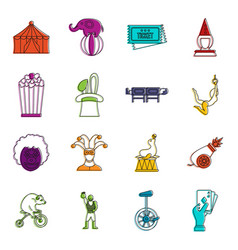 circus entertainment icons doodle set vector image