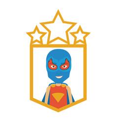 Colorful silhouette with half body kid superhero vector
