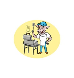 Cow barbecue chef smoker oval cartoon vector