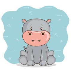 cute adorable hippo animal cartoon vector image vector image