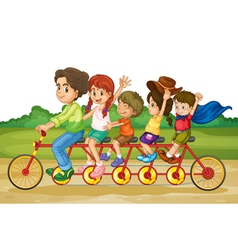 Family on tandem bike vector image