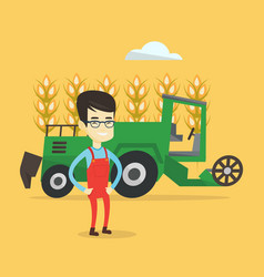 farmer standing with combine on background vector image