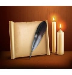 Feather parchment candles realistic background vector