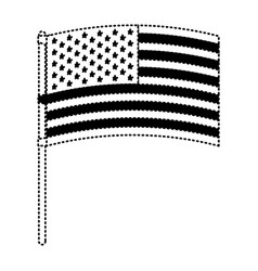 Flag united states of america in flagpole waving vector