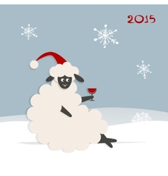 Funny sheep santa symbol of new year 2015 vector image vector image