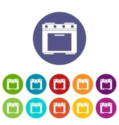 Gas stove set icons vector