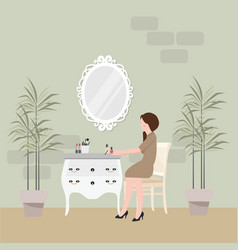 girl sitting in chair for make-up with table and vector image