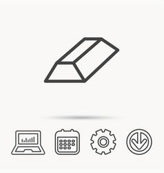 Gold bar icon banking treasure sign vector