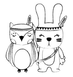 Grunge owl and rabbit animals with feathers design vector