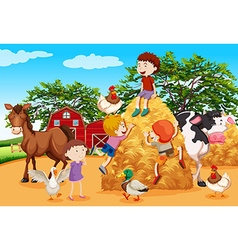 Kids playing in the farmyard vector image vector image