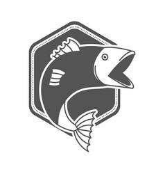 Monochrome silhouette emblem with fish bigmouth vector