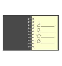 Ring-bound notebook with personal information vector