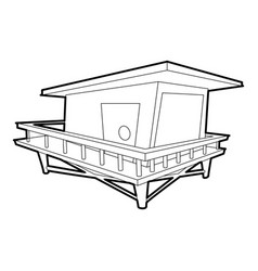 Stilt house icon outline style vector