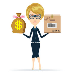 woman holding a box and money delivery concept vector image vector image