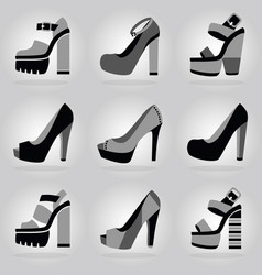 women trendy platform high heel shoes icons set vector image