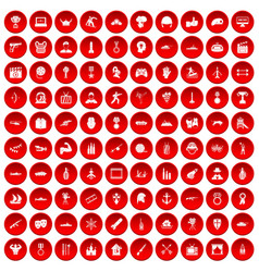 100 hero icons set red vector