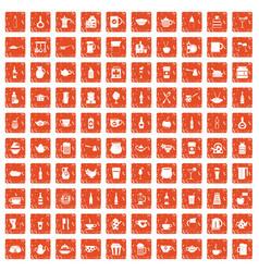 100 utensil icons set grunge orange vector
