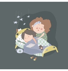 Mom kisses daughter at bedtime vector
