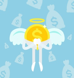 Angel coin business man sky vector