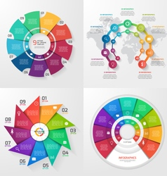 Set of 4 infographic templates with 9 options vector