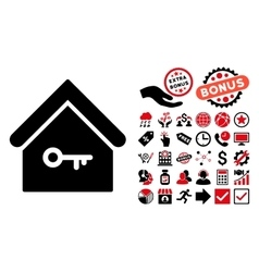 Home key flat icon with bonus vector