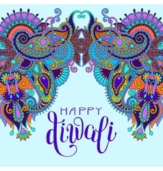 Happy Deepawali greeting card with hand written vector image