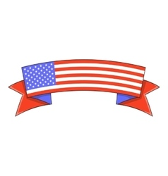 Independence day ribbon icon cartoon style vector