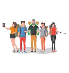 travel people with backpack set in flat design vector image