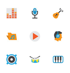 music flat icons set collection of portfolio vector image