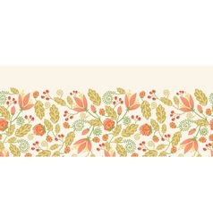 Spring flowers and berries horizontal seamless vector