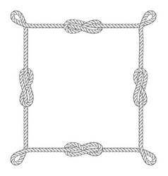 Square rope frame with knots and loops vector