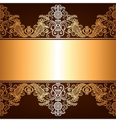 Brown background with gold ornament vector