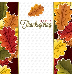 Elegant leaf thanksgiving card in format vector