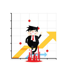 Business man jumping with graph vector