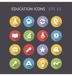 Flat icons for education and science vector