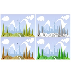 Landscape in four seasons vector