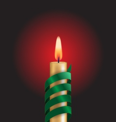 Candle with green spiral tape on red vector