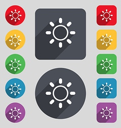 Brightness icon sign a set of 12 colored buttons vector
