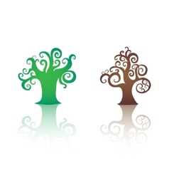 Decorative trees icons isolated vector