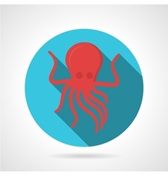 Flat color design octopus icon vector