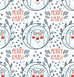 Christmas pattern with polar bears vector