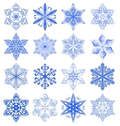 Snowflake blue set vector