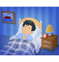 Cartoon smile little boy sleeping in the bed vector